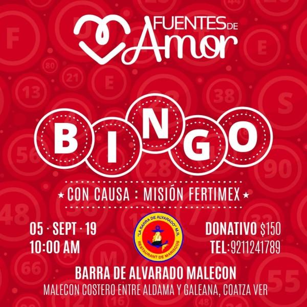 Organización civil Fuentes de Amor organizará Bingo con Causa